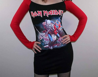 Iron Maiden The Trooper Off Shoulder Heavy Metal Dress Long Sleeves Rock Satanic