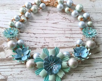 Frosted Blues...a fresh floral charm style necklace with hand painted flowers by wendy baker