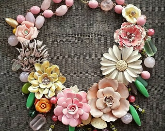 Rose Blush Garden... a new statement necklace from Wendy Baker