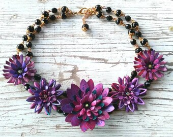 Plum Lucky...a fresh floral charm style necklace with hand painted flowers in purples by wendy baker