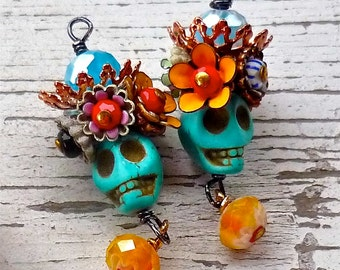 Reserved for WENDY B....Day of the Dead skulls and flowers Earrings by Wendy Baker