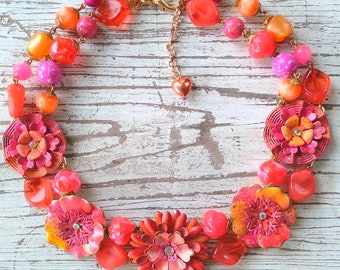 Tangerine Daisies..a fresh floral charm style necklace with hand painted flowers by wendy baker