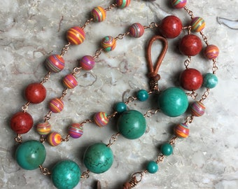 Turquoise, coral and mosaic turquoise wire wrapped necklace