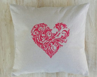 Heart Pillow Cover - Embroidered Heart Pillow Cover - Heart Pillow Cover - Pink Heart Pillow Cover - Love Story Pillow - Heart Home Decor