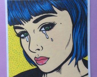 Blue Bangs Crying Comic Girl Sticker
