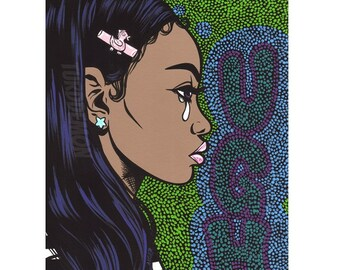 50% OFF SALE UGH Pop Art Crying Comic Girl Print