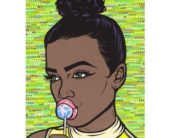 50% OFF SALE Lollipop Comic Girl Print
