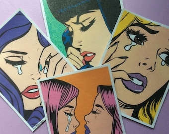 Crying Comic Girl Sticker Pack # 10