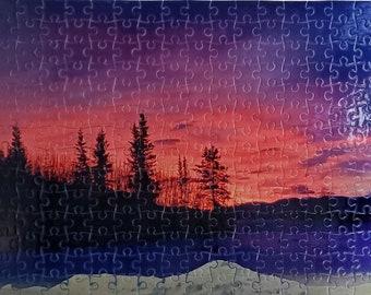 Winter sunrise puzzle, Yukon colour, cold and beautiful,