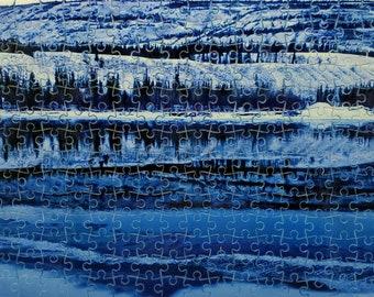 Puzzle Pelly River , at Ross River, Yukon blues, 266 piece, Yukon scene, art puzzle, matechuk, free shipping Canada