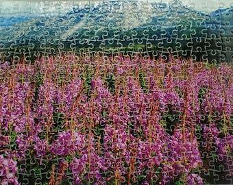 Fireweed puzzle, Mountain Field, Yukon flower, Magenta vista, free shipping Canada, lockdown entertainment,