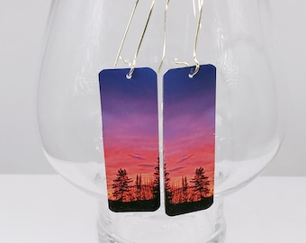 Northern earrings, winter sunrise, Photo printed , Purple pink morning, Late morning color, free US shipping, free Can shipping,