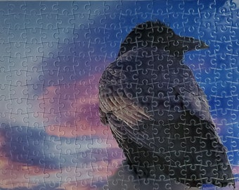 Raven in sunset puzzle, pink blue sky, black raven, Yukon sky, free shipping Canada, territorial bird