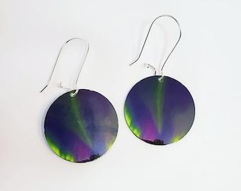 Round Aurora earrings, Northern lights, majenta green, yellow black, celestial sky, Lead free, gift under 30, wearable art, Yukon Alaska