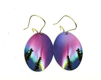 Pink Aurora, lightweight earrings, wearable art, northern trees, mothers day, free NA shipping, Yukon made
