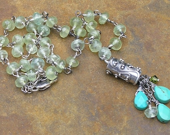 Handmade Wire Wrapped Necklace, Sterling Silver Necklace, Green Rutilated Quartz Necklace, Turquoise Briolette Pendant, Tassle Pendant