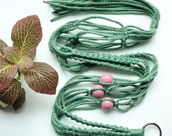 The Elizabeth • 41-inches • 4mm Macrame Plant Hanger • Sage Cording with Mauve Beads