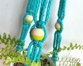 """22"""" • 4mm Color Block Beaded Small Twist Macrame Plant Hanger • Turquoise w/Round Key Lime Green + Natural Wood Beads"""
