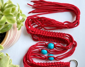 The Elizabeth • 41-inches • 4mm Macrame Plant Hanger • Red Cording with Turquoise Beads