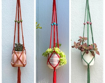 """The Elizabeth Beaded Macrame Plant Hanger • 41"""" Pick Your Own Colors • 22 Cording Colors to Choose From"""