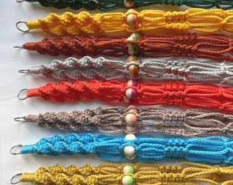 """4MM • 22"""" Pick Your Own Colors • 22 Colors to Choose From • Small Twist Macrame Plant Hanger With 3 Color Block Beads"""
