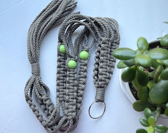 The Lori • 39-inches • 6mm Macrame Plant Hanger • Grey Cording with Lime Sorbet Beads