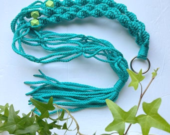 The Beverly • 4mm 33-inch Macrame Plant Hanger • Turquoise w/Lime Sorbet Geometric Beads