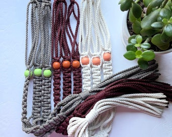 """The Lori Beaded Macrame Plant Hanger  • 39"""" Pick Your Own Colors • 6mm w/3 Round Beads"""