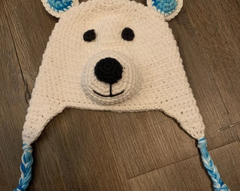 Crochet Polar Bear Winter Hat - Cotton