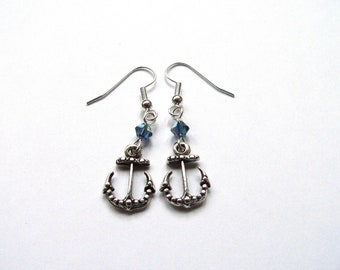 Anchor Earrings | Nautical Earrings | Dangle Earrings | Statement Earrings | Pirate Earrings | Swarovski Crystal Earrings | Sailor