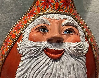 Red Santa Gourd with Quilt Style Cane Hat Band OOAK 2021#009