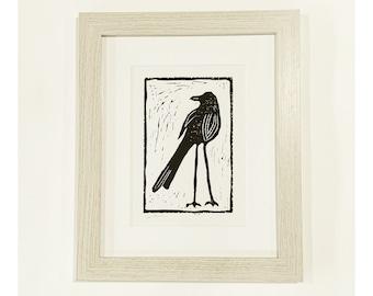 Lino cut, black bird, framed art, original print, FREE SHIPPING