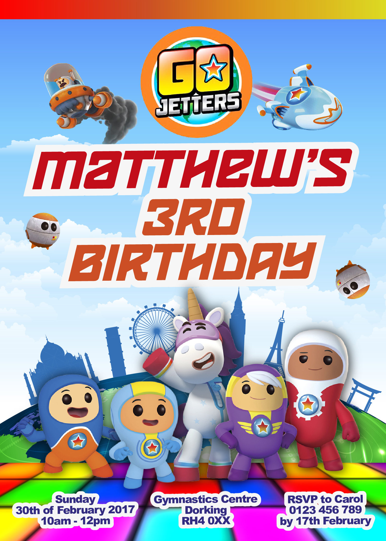 Go Jetters Custom Digital Birthday Party Invitations 5x7