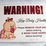 TAKE OFF SHOES and Wash Your Hands Before Touching Sign - Door Signs for a Healthy Home - Baby Girl