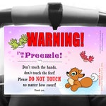 PREEMIE Tag Please Don't Touch, Preemie Awareness Infant Carrier and Stroller Sign - SEACAT DREAMS Girl