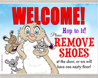 Hop to it! NO SHOES in the House Sign - Cute Bunny Take Off Your Shoes Home Door Signs