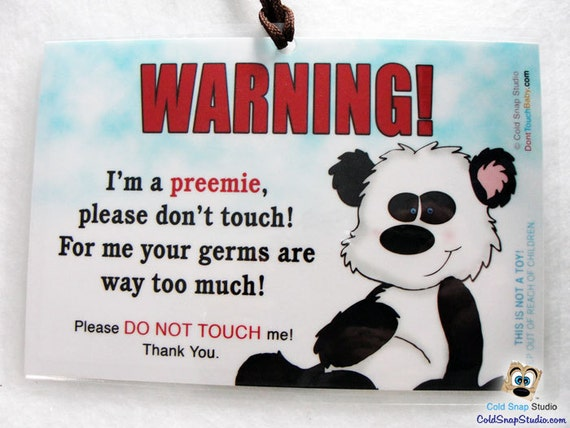 No Touching PREEMIE Baby Car Seat Infant Carrier Sign Panda