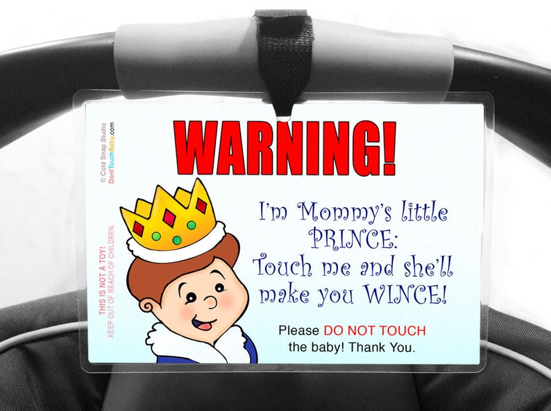 Baby Safety Sign Don't Touch Baby Boy Car Seat Infant image 0