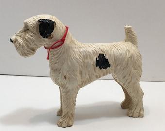 Vintage Plastic  Fox Terrier Statue Figurine Toy