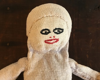 1940s Handmade Cute and Creepy Sock Doll Folk Art