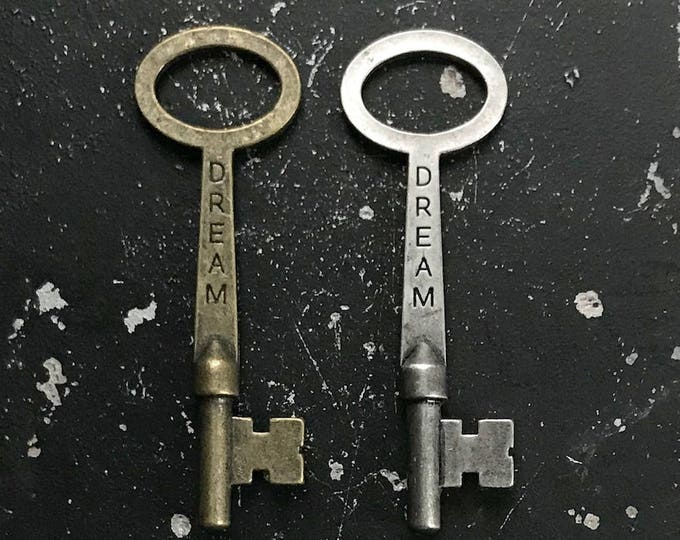 Dream Key for DIY Necklace Assemblage, Metal Charm Lead and Nickel Free, Industrial, Vintage Style Jewelry Findings