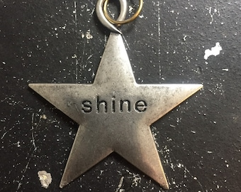 Shine Chamr, Metal Star Charm, Gunmetal Word Charm for DIY Jewelry Making, Industrial Metal Tag, Steamunk Charms for Necklace Making