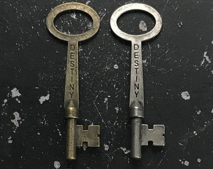 Destiny Key Charms for DIY Jewelry Making, Nickel Free Key with Words, Lead Free Metal Charm Jewelry Findings