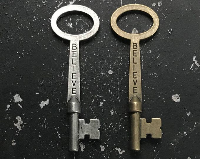 Believe Key for DIY Necklace Making, Nickel Free Metal Charm with Words, Jewelry Finding for Assemblage in Antique Bronze and Antique Silver