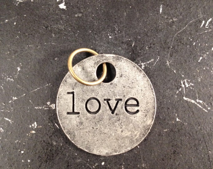 Love Charm,  Industrial Metal Word Tag for Necklace, Love Necklace, DIY Jewelry Making, Steampunk Parts, Gunmetal Jewelry Parts