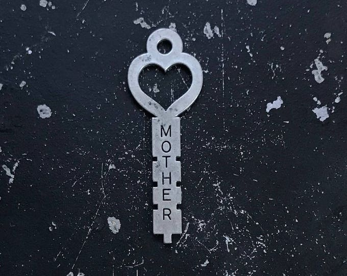 Heart Key, Mother Gift, Mother Charm, Industrial, Gunmetal Charm for DIY Necklace Making, Lead and NIckel Free Jewelry Findings