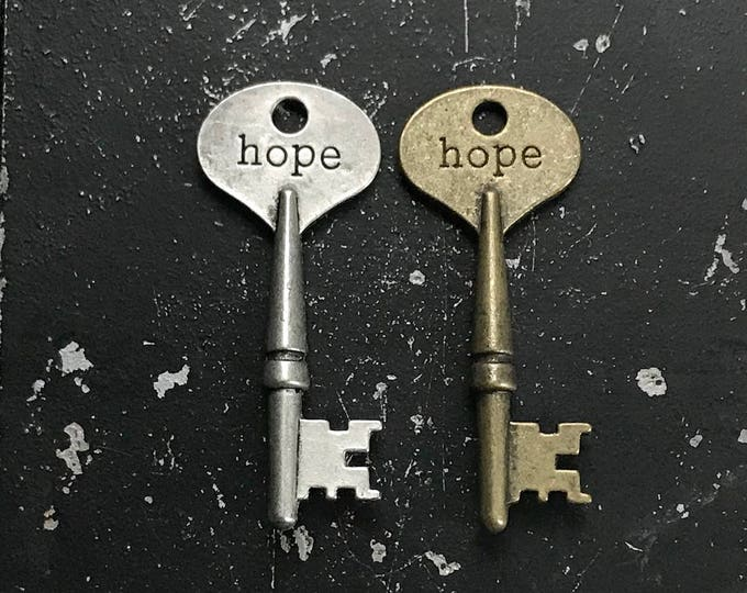 Hope Key for DIY Jewelry Making, Industrial Necklace Charm, Nickel Free Key with Words, Metal Jewelry Findings