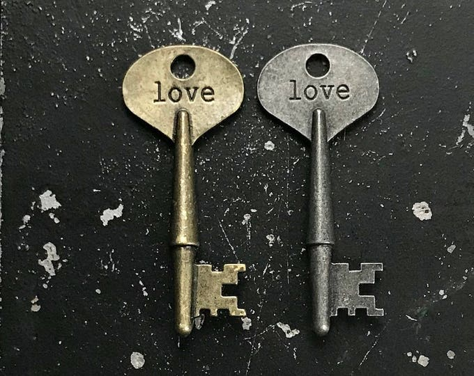 Love Key, DIY Jewelry Charm For DIY Jewelry Making, Key with Words in Antique Bronze and Gunmetal Finish, Lead and Nickel Free Key Charm
