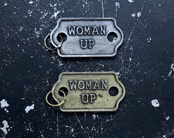 Woman Up Inspirational Charms, Jewelry Parts For DIY Necklace, Metal Tags With Words, Lead and Nickel Free Jewelry Findings, Necklace Charms