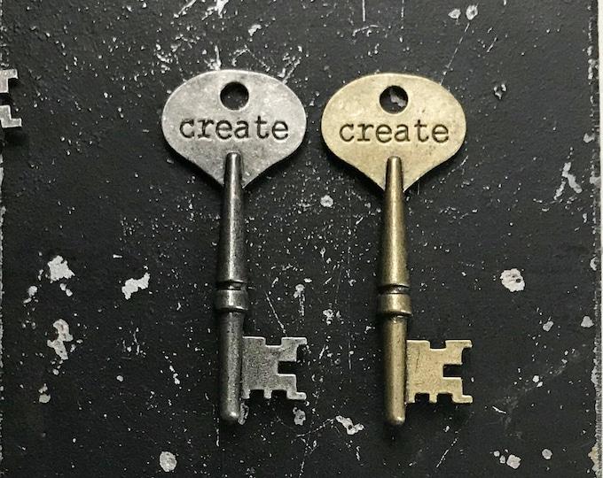 Key Charm, Create Key with Words, Keys for DIY Jewelry Making, Lead and NIckel Free Jewelry Findings, Industrial Bronze Key or Gunmetal Key